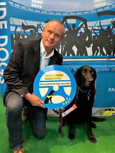 Mike and guide dog Forgan